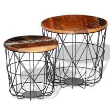 Coffee Table Set 2 Pieces Round 35 cm/45 cm Reclaimed Wood