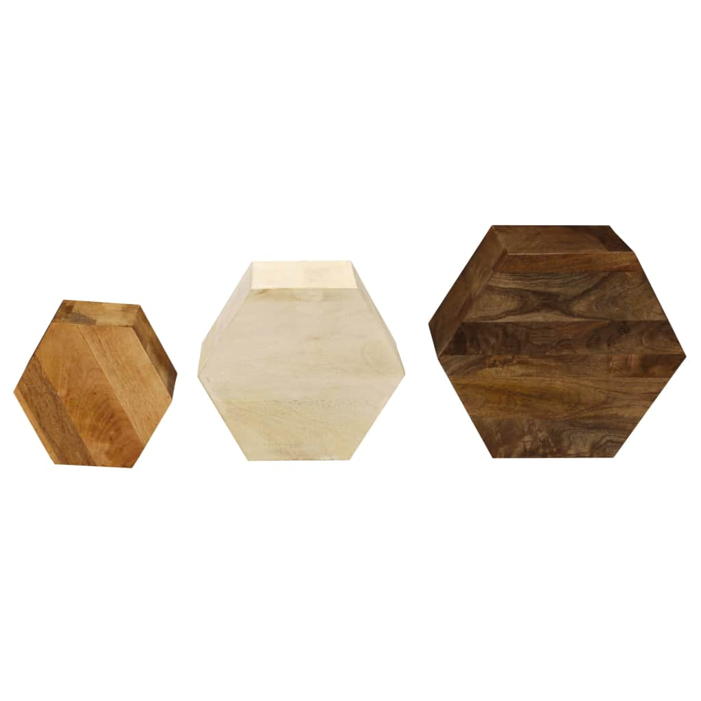 Coffee Table Set 3 Pieces Solid Mango Wood