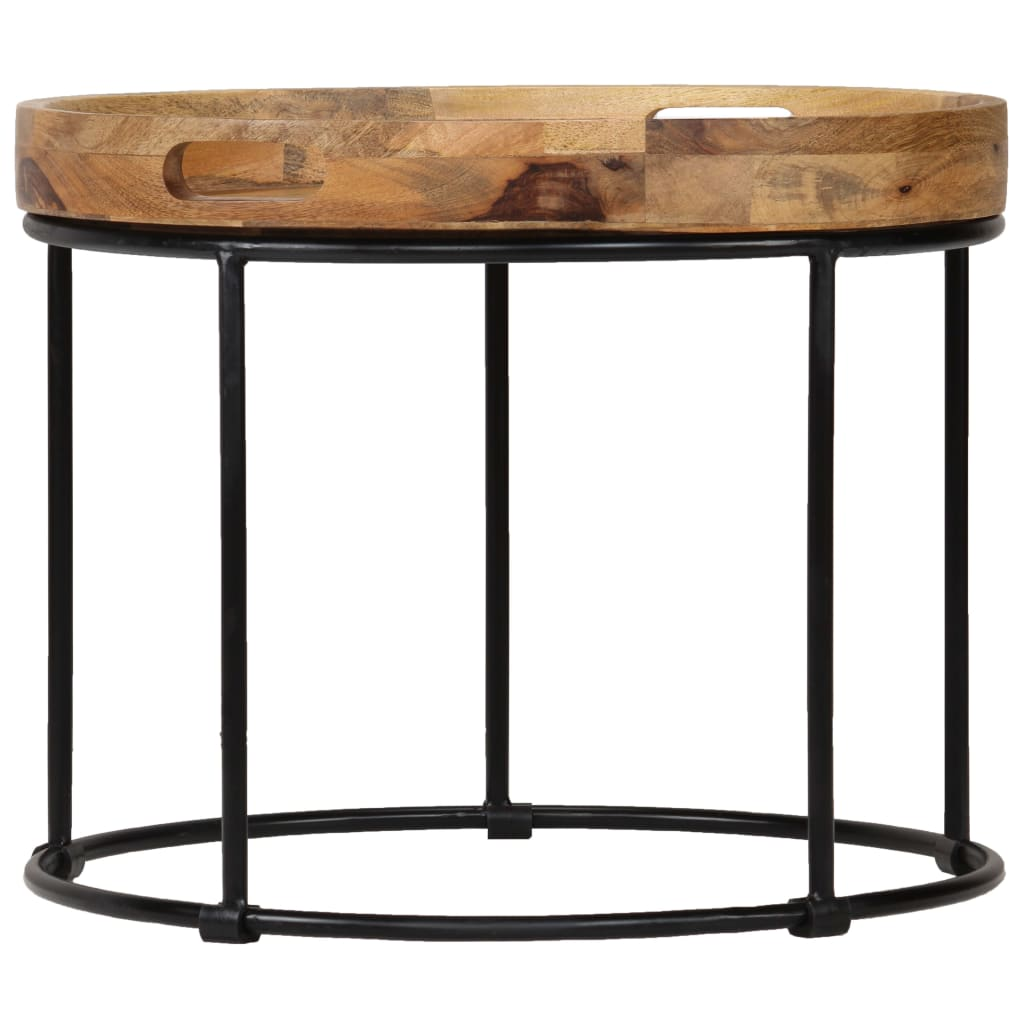 Coffee Table Solid Mange Wood and Steel 50x40 cm