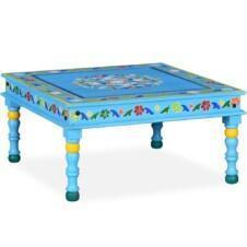 Coffee Table Solid Mango Wood Turquoise Hand Painted
