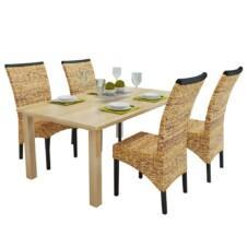 Set of 4 Abaca Rattan Woven Brown Dining Chairs