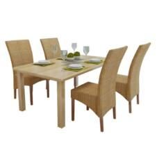 Dining Chairs 4 pcs Rattan Brown