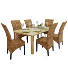 Dining Chairs 6 pcs Abaca Brown