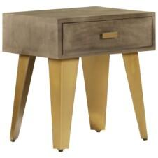 Nightstand 45x35x48 cm Solid Mango Wood and Cast Iron