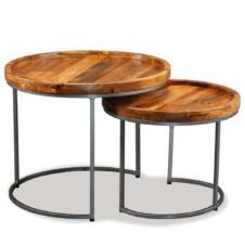 Side Table Set 2 Pieces Solid Mango Wood
