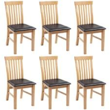 274364 Dining Chairs 6 pcs Solid Oak Wood and Faux Leather (243546+243547)