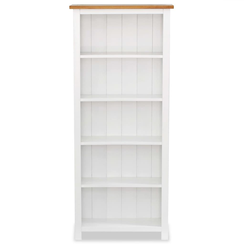 5-Tier Bookcase 60x22.5x140 cm Solid Oak Wood