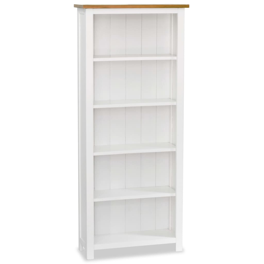 Colonial White Painted 5 Shelf Bookcase Solid Oak Wood Top