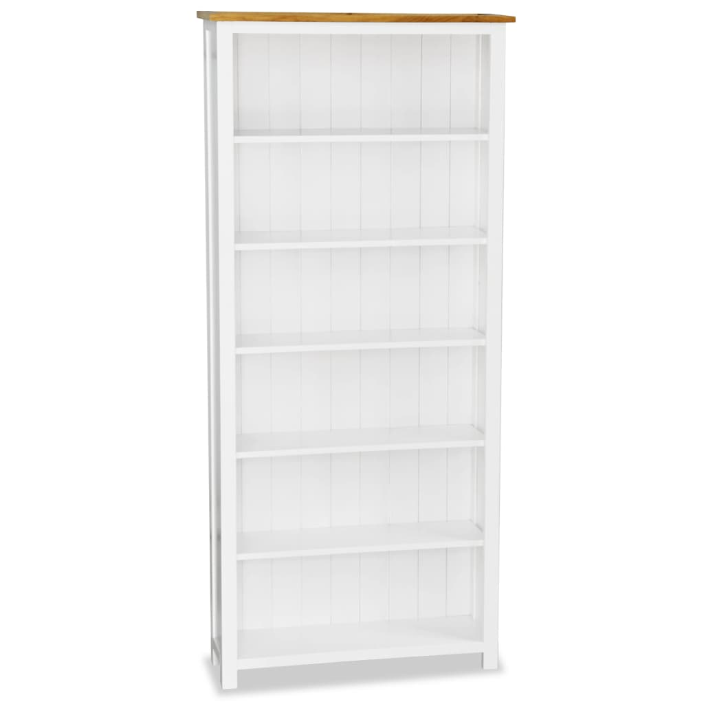 Colonial Painted White 6 Shelf Bookcase Solid Oak Wood Top