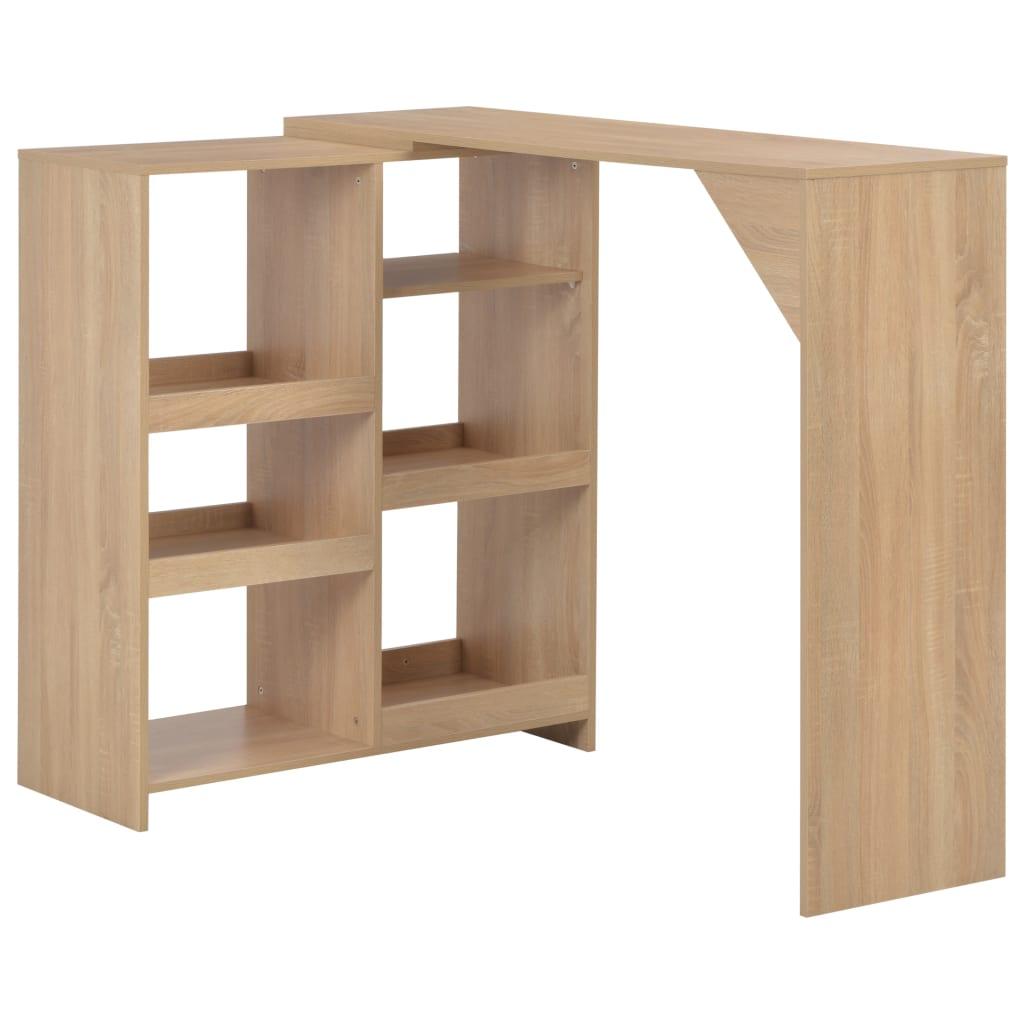 Bar Table with Moveable Shelf Oak 138x40x120 cm