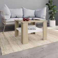 Coffee Table White and Sonoma Oak 60x60x42 cm Chipboard