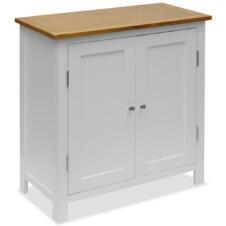 Colonial Painted White Small Sideboard Solid Oak Wood Top