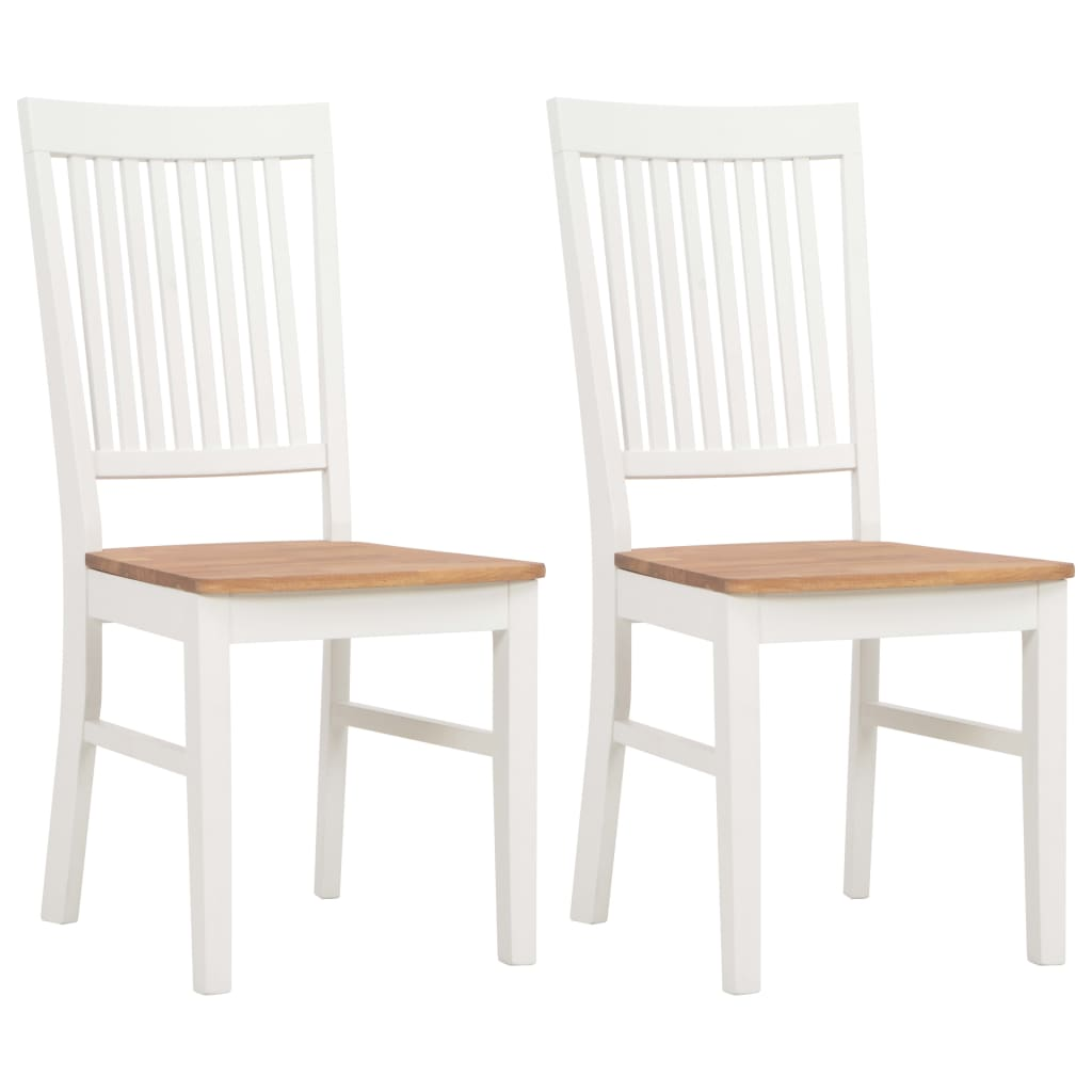 Set of 2 Colonial White Painted Dining Chairs with Oak Wood Seat 44x59x95cm