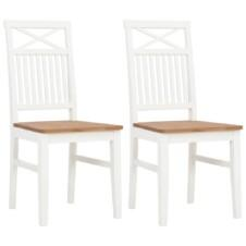 Set of 2 Colonial White Painted Dining Chairs Solid Oak Wood Seat 44x59x96cm