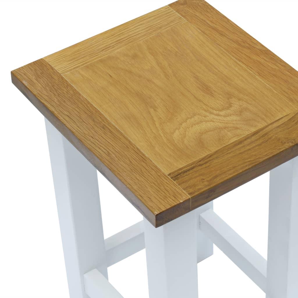 End Table 27x24x37 cm Solid Oak Wood