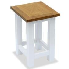 Colonial Painted White End Table Solid Oak Wood Top 27x24x37cm