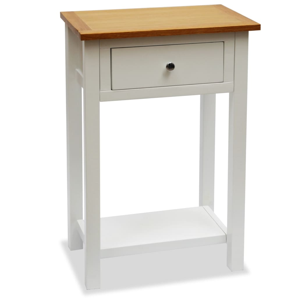 Colonial Painted White 1 Drawer Lamp Table Solid Oak Wood Top