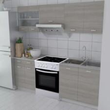 Kitchen Cabinet Unit 5 Pieces with Freestanding Oven Oak Look