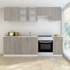 Kitchen Cabinet Unit 7 Pieces with Freestanding Oven Wenge Look
