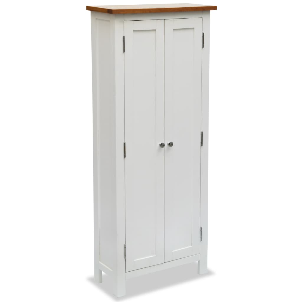 Colonial Painted White Media Storage Cabinet Solid Oak Wood Top