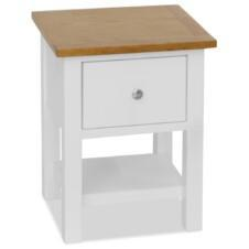 Colonial White Painted Bedside Solid Oak Wood Top 36x30x47cm