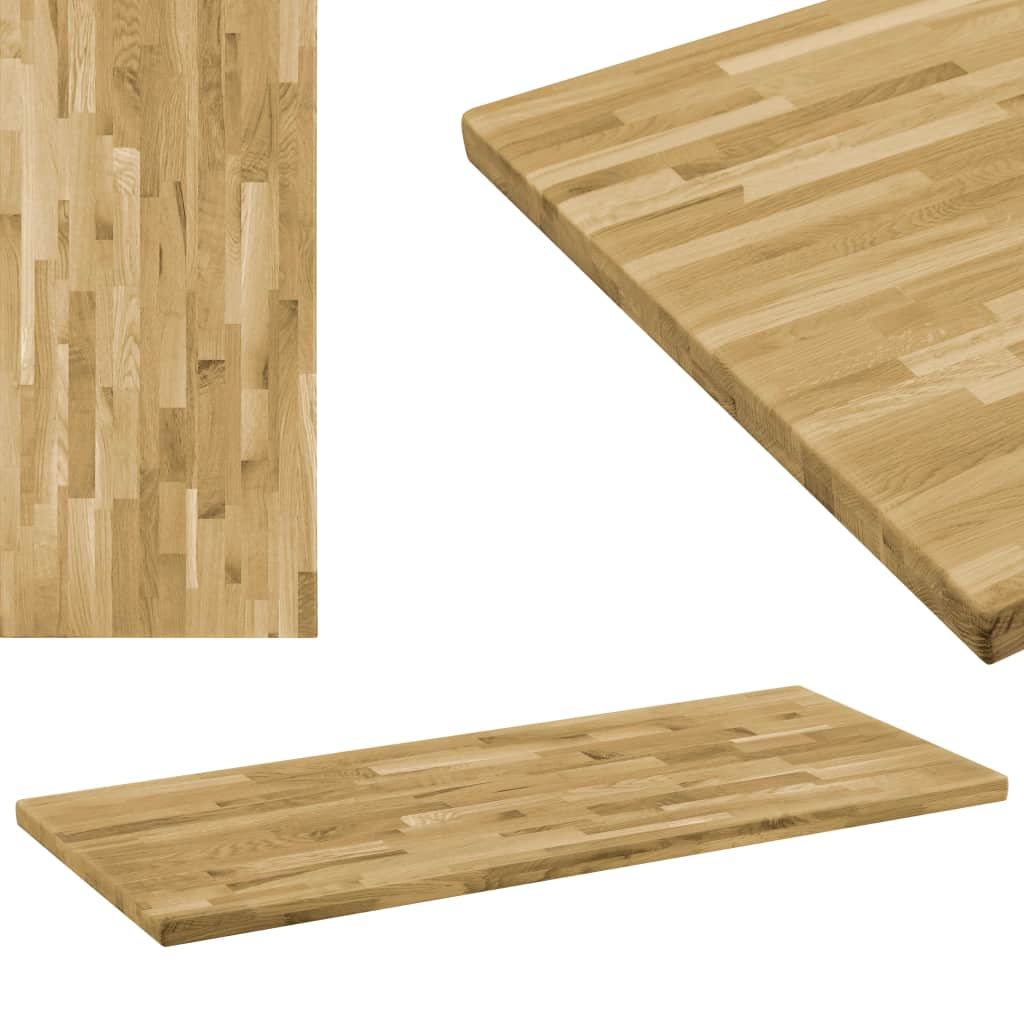 Table Top Solid Oak Wood Rectangular 44 mm 100x60 cm