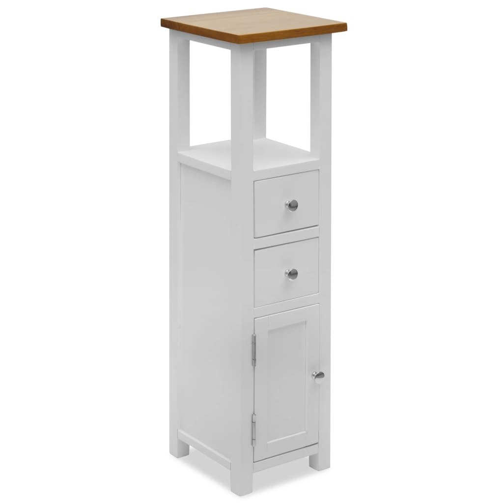 Colonial Painted White Slim Tall Chest of Drawers Solid Oak Wood Top
