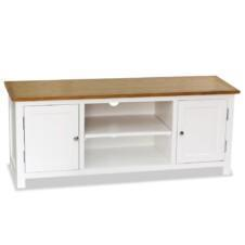 120cm Colonial Painted White TV Stand Unit Solid Oak Wood Top