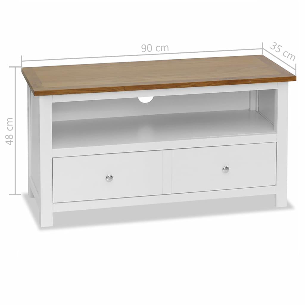 TV Cabinet 90x35x48 cm Solid Oak Wood