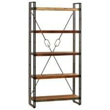 5-Tier Bookcase 90x30x180 cm Solid Reclaimed Wood