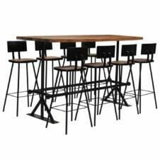 Bar Set 9 Piece Solid Reclaimed Wood