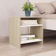 Bedside Cabinet White and Sonoma Oak 40x30x40 cm Chipboard