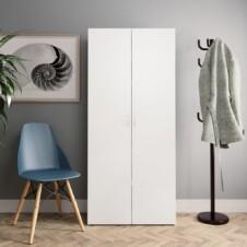 Shoe Cabinet White and Sonoma Oak 80x35.5x180 cm Chipboard