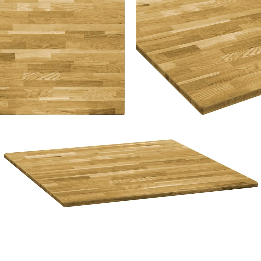 Table Top Solid Oak Wood Square 23 mm 70x70 cm