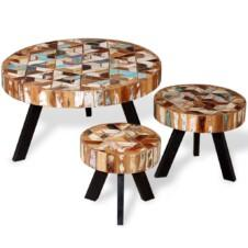 Three Piece Coffee Table Set Solid Reclaimed Wood