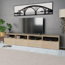 TV Cabinets 2 pcs Chipboard 95x35x36 cm Oak