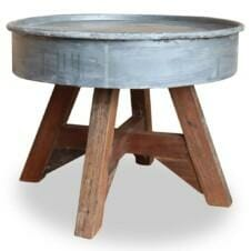 Upcycled Coffee Table Solid Reclaimed Wood 60x45 cm Silver