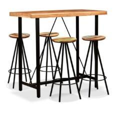 Bar Set 5 Pieces Solid Sheesham and Reclaimed Wood
