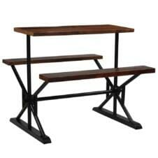 Bar Table with Benches Solid Reclaimed Wood 120x50x107 cm