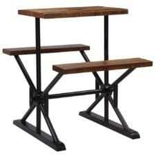Bar Table with Benches Solid Reclaimed Wood 80x50x107 cm