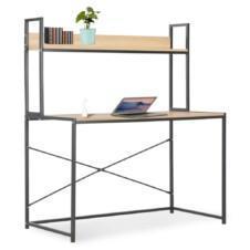 Computer Desk Black and Oak 120x60x138 cm