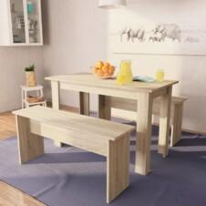 Dining Table and Benches 3 Pieces Chipboard Oak