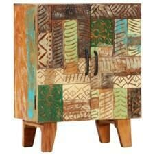 Hand Carved Sideboard 60x30x75 cm Solid Reclaimed Wood