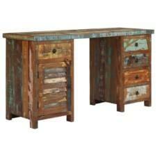 Pedestal Desk Solid Reclaimed Wood 140x50x77 cm