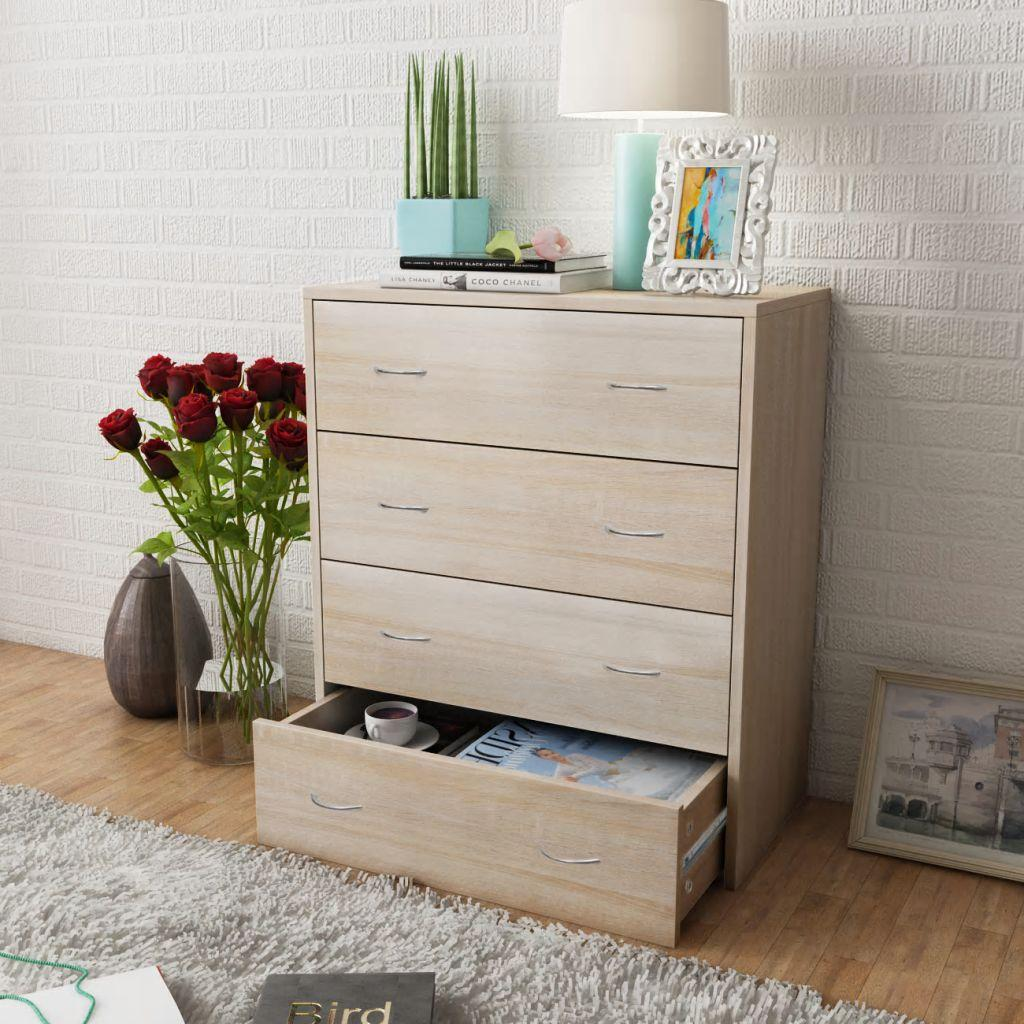 Sideboard with 4 Drawers 60x30.5x71 cm Oak Colour
