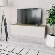 TV Cabinet Chipboard 120x40x34 cm High Gloss White and Oak