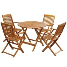 4 Seater Round Folding Outdoor Dining Set Solid Acacia Wood