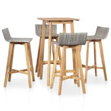 4 Seater Outdoor Square Bar Dining Set Solid Acacia Wood