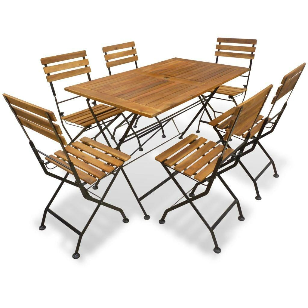 6 Seater Garden Dining Set Solid Acacia Wood & Metal