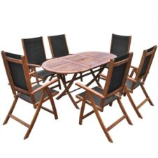 6 Seater Outdoor Dining Set Oval Solid Acacia Wood